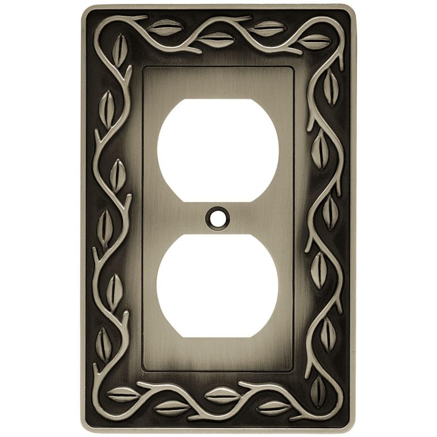 betsyfieldsdesign 1-Gang Brushed Satin Pewter Round Wall Plate