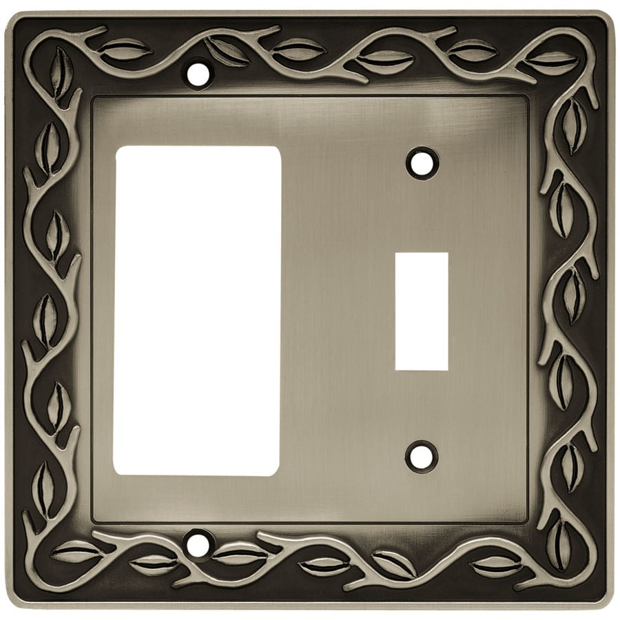 betsyfieldsdesign 2-Gang Brushed Satin Pewter Decorator Wall Plate