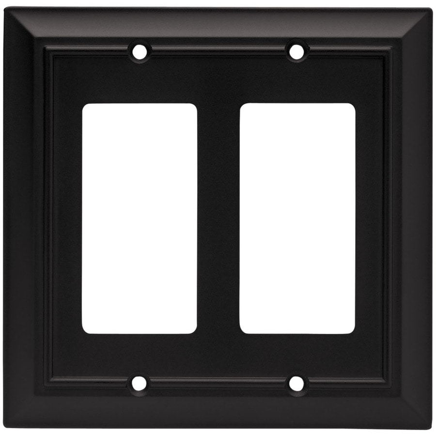 Brainerd 2-Gang Flat Black Decorator Wall Plate