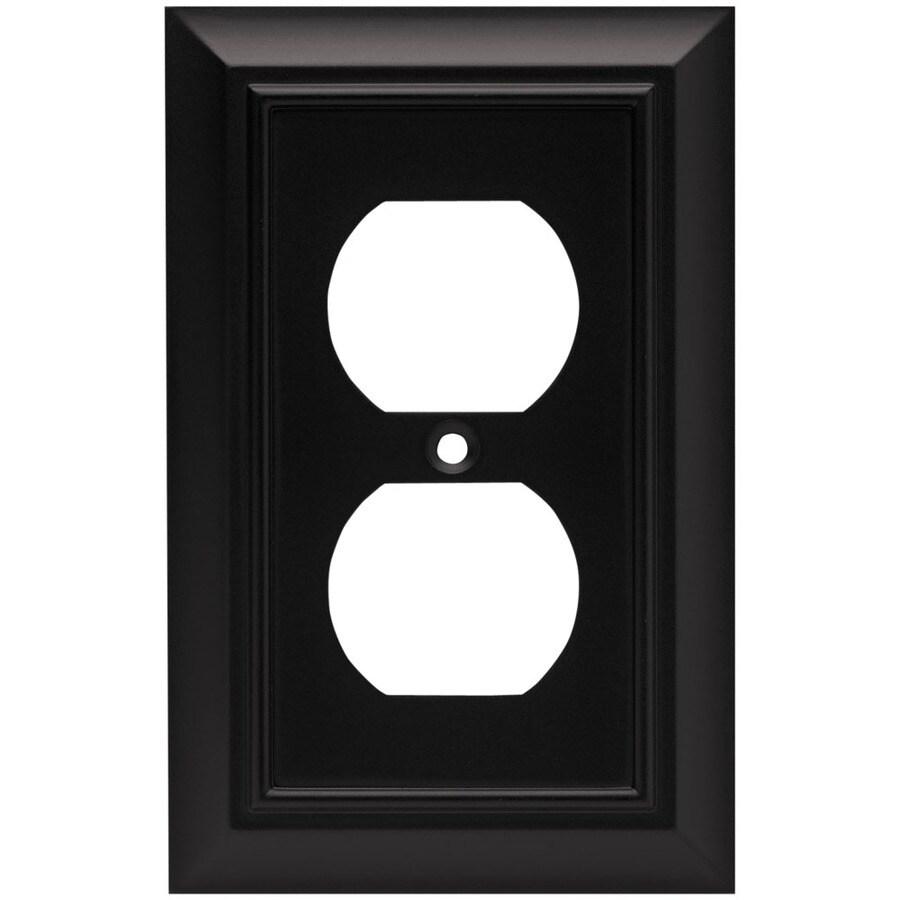 Brainerd 1-Gang Flat Black Round Wall Plate