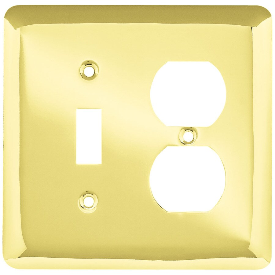 Style Selections Stamped Round 2-Gang Polished Brass Single Toggle/Duplex Wall Plate