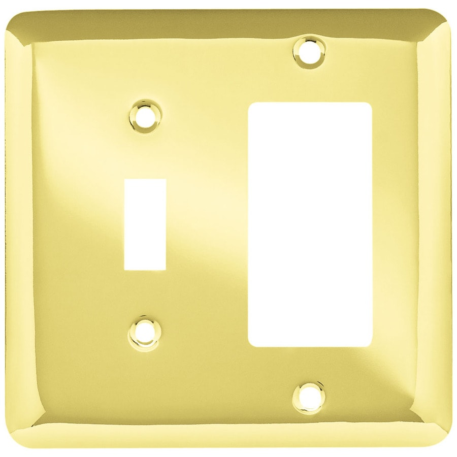 Brainerd Stamped Round 2-Gang Polished Brass Single Toggle/Decorator Wall Plate