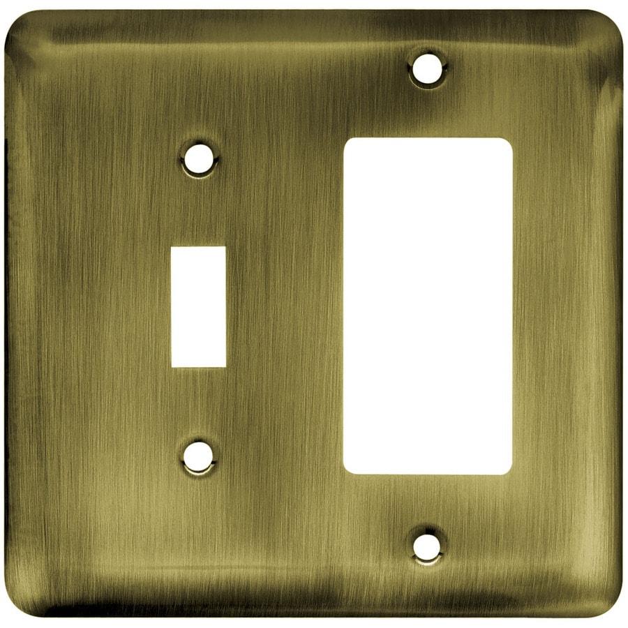 Brainerd 2-Gang Antique Brass Decorator Wall Plate