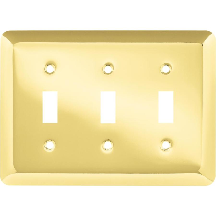 Style Selections 3-Gang Polished Brass Toggle Wall Plate