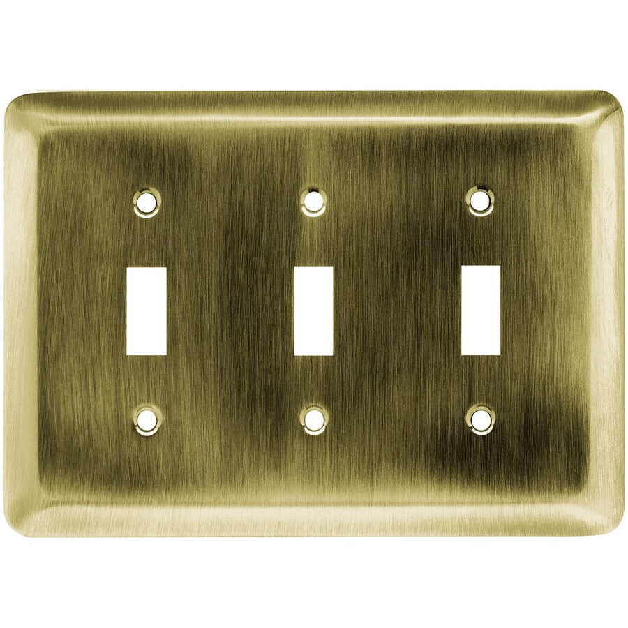 Brainerd 3-Gang Antique Brass Toggle Wall Plate