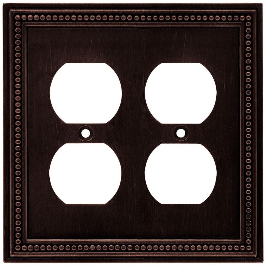 betsyfieldsdesign Beaded 2-Gang Venetian Bronze Double Duplex Wall Plate