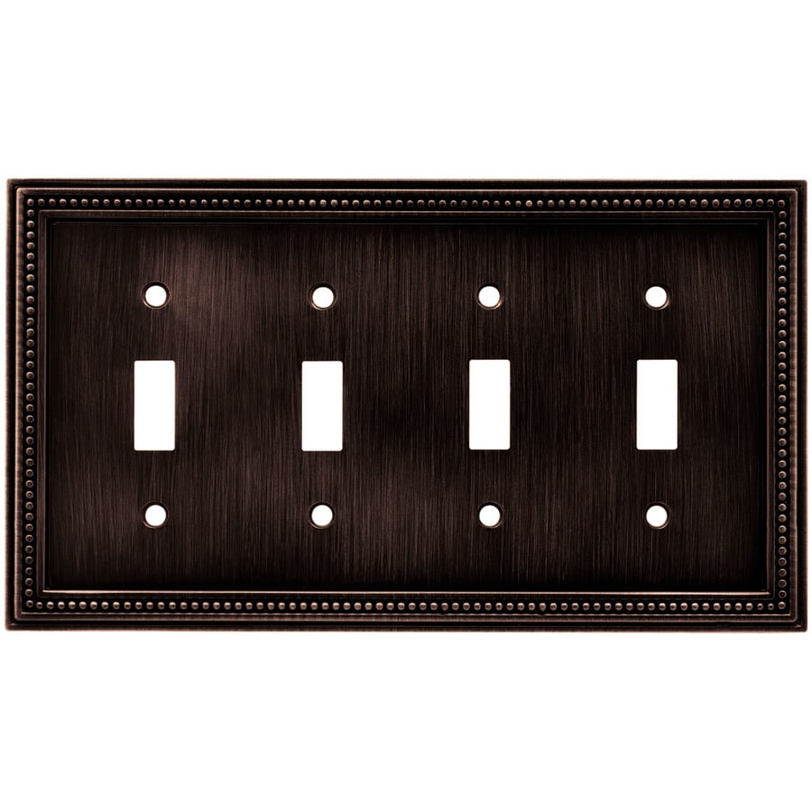 betsyfieldsdesign Beaded 4-Gang Venetian Bronze Quad Toggle Wall Plate