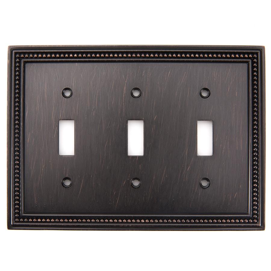 betsyfieldsdesign Beaded 3-Gang Venetian Bronze Triple Toggle Wall Plate
