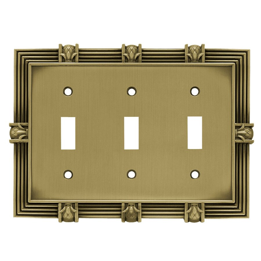 betsyfieldsdesign 3-Gang Tumbled Antique Brass Toggle Wall Plate