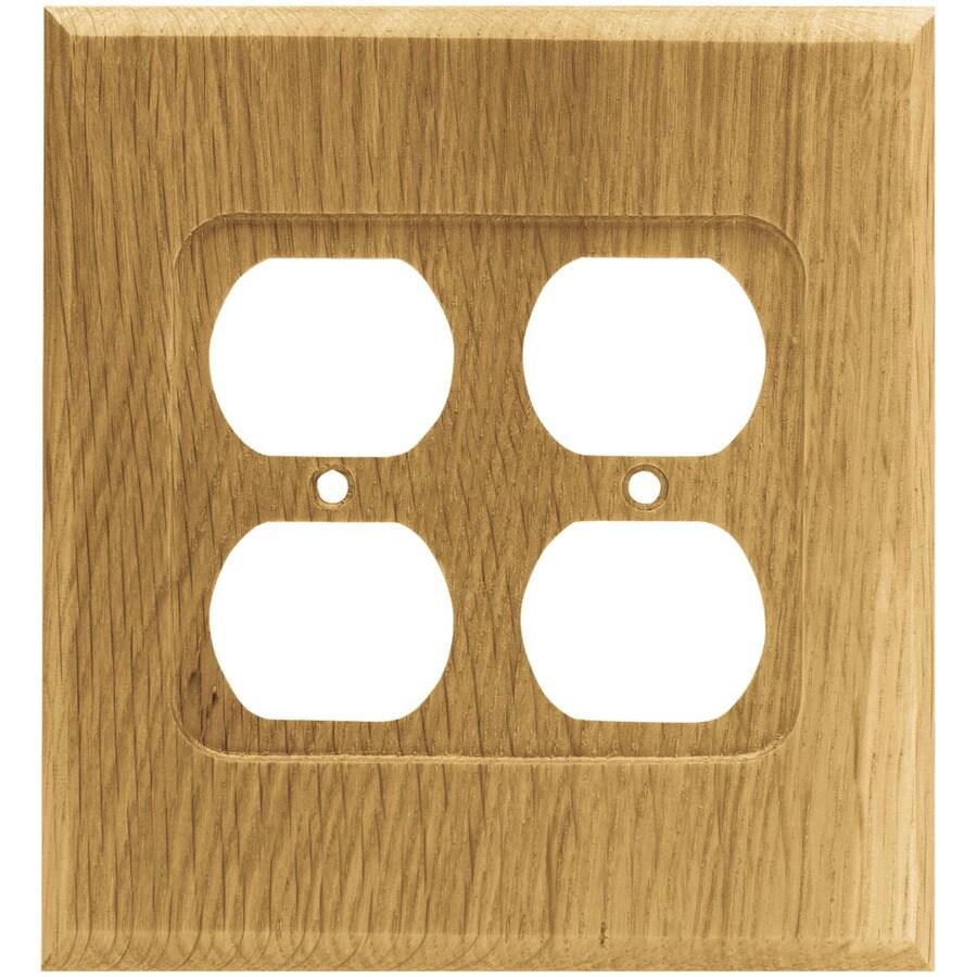 Brainerd Wood Square 2-Gang Medium Oak Double Duplex Wall Plate