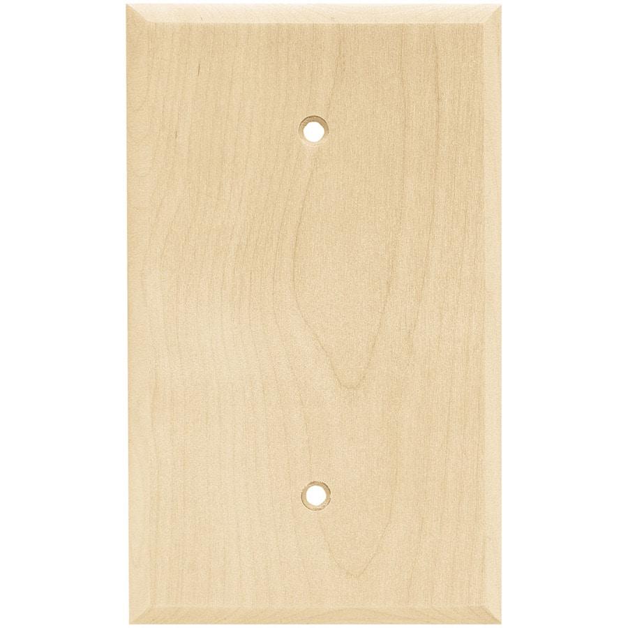 Brainerd Wood Square 1-Gang Light Wood Single Blank Wall Plate