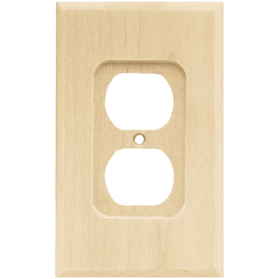 Brainerd Wood Square 1-Gang Light Wood Single Duplex Wall Plate