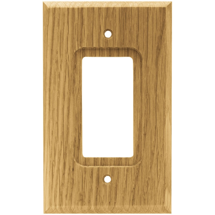 Brainerd 1-Gang Medium Oak Decorator Rocker Wood Wall Plate