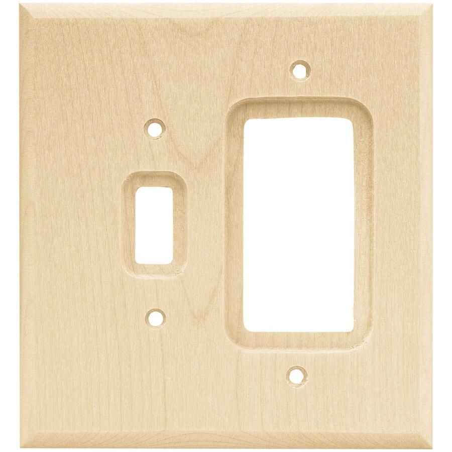 Brainerd 2-Gang Unfinished Birch Decorator Rocker Wood Wall Plate
