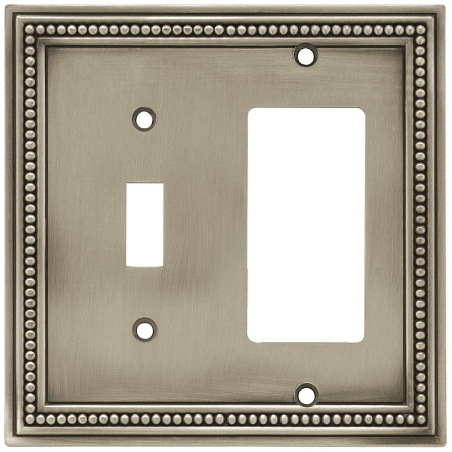 betsyfieldsdesign Beaded 2-Gang Brushed Satin Pewter Single Toggle/Decorator Wall Plate