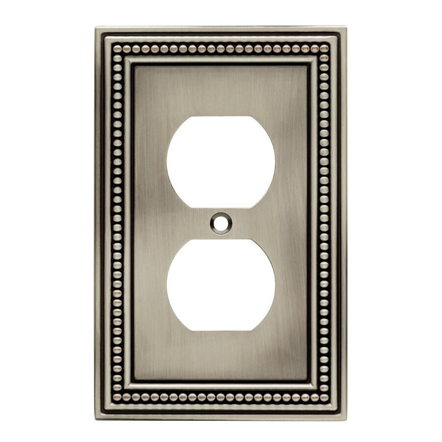 Brainerd 1-Gang Brushed Satin Pewter Standard Single Receptacle Metal Wall Plate