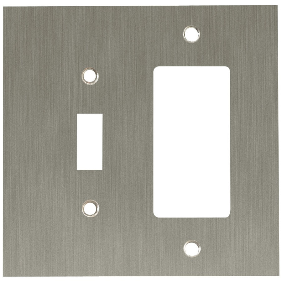 betsyfieldsdesign 2-Gang Brushed Nickel Plated Decorator Rocker Metal Wall Plate