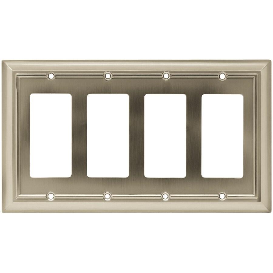 Brainerd 4-Gang Satin Nickel Decorator Rocker Metal Wall Plate