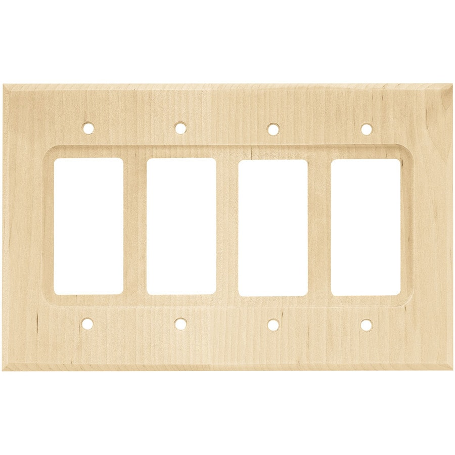 Brainerd Wood Square 4-Gang Unfinished Birch Decorator Wall Plate
