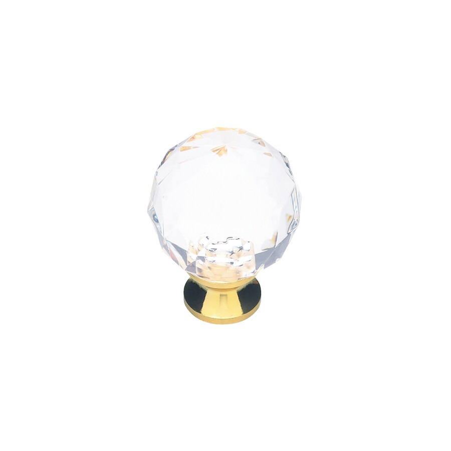 Brainerd Polished Brass and Clear Round Cabinet Knob