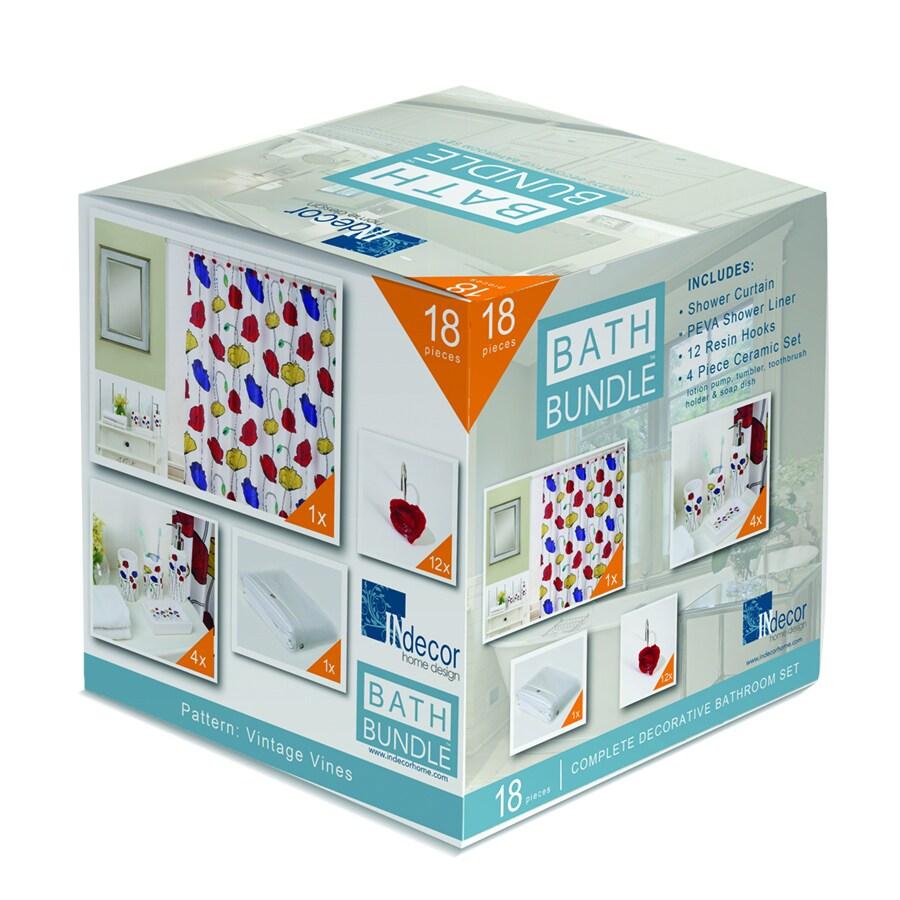 INdecor home design Poppies Floral Royal Blue Ceramic Bathroom Coordinate Set