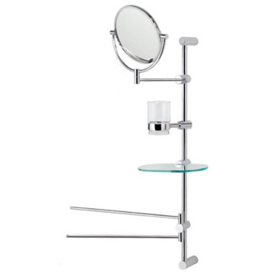 :USE Bollard 7-in H x 7-in W Round Tilting Frameless Bathroom Mirror with Satin Nickel Hardware and Polished Edges