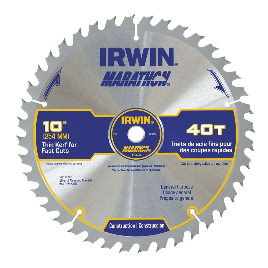 IRWIN Marathon 10-in 40-Tooth Dry Standard Carbide Circular Saw Blade