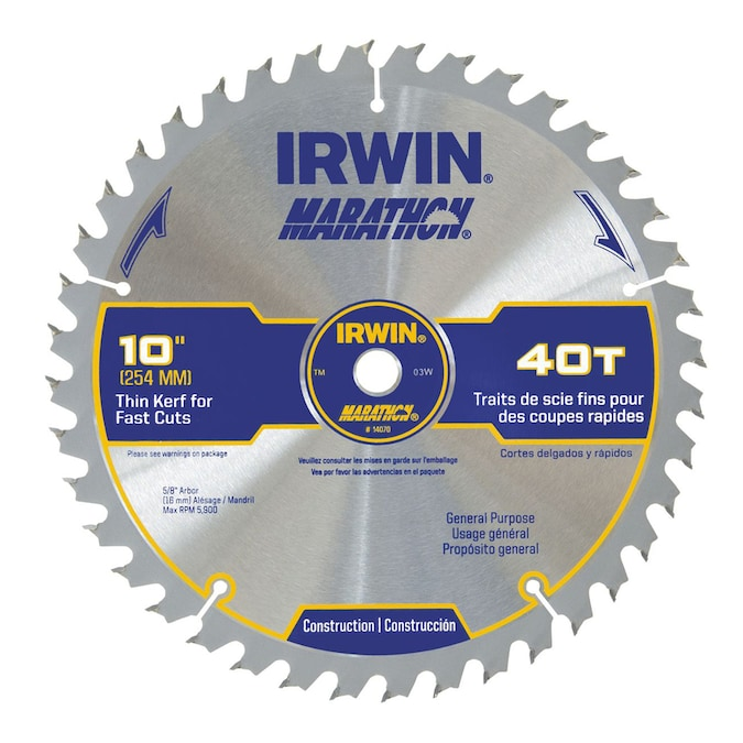Irwin Marathon 10 In 40 Tooth Standard Tooth Carbide Circular Saw Blade In The Circular Saw Blades Department At Lowes Com