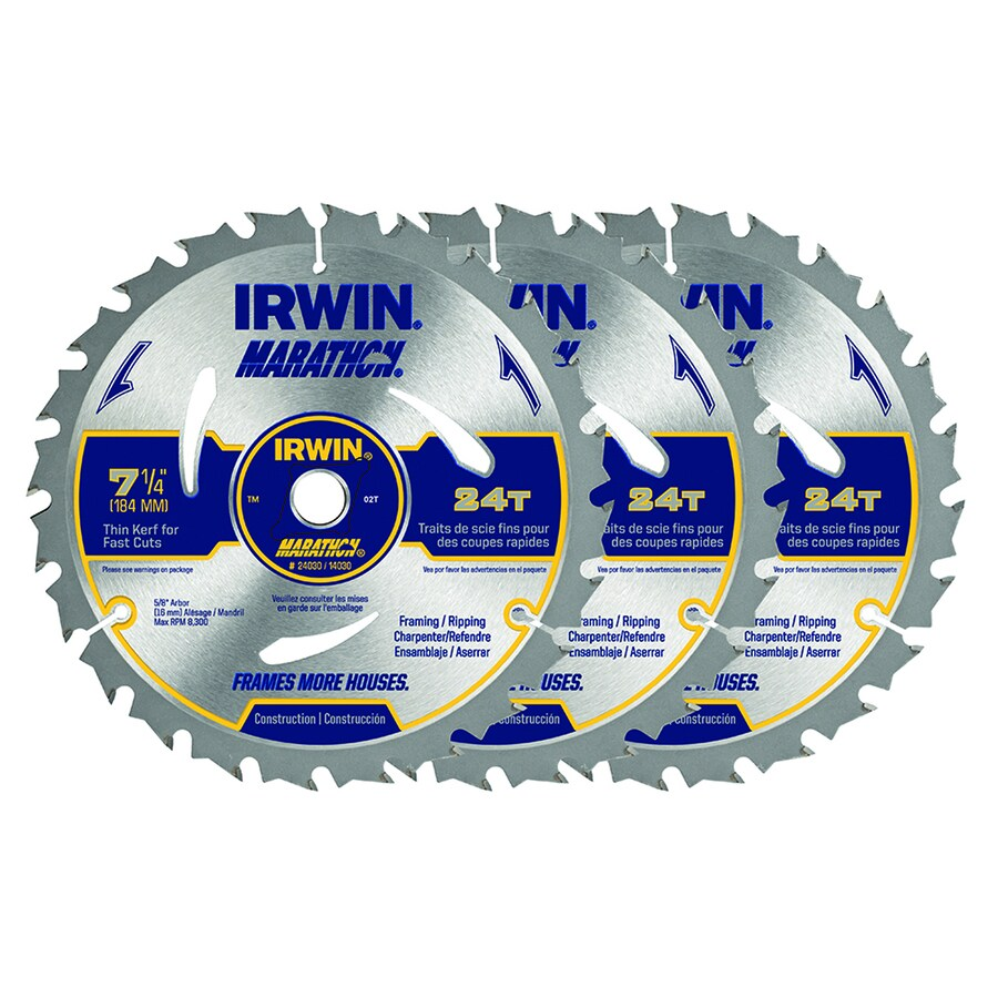 IRWIN MARATHON 3-Pack 7-1/4-in 24-Tooth Circular Saw Blade Set