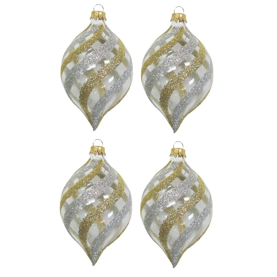 Holiday Living 4-Pack Clear, Gold, and Silver Ornament Set