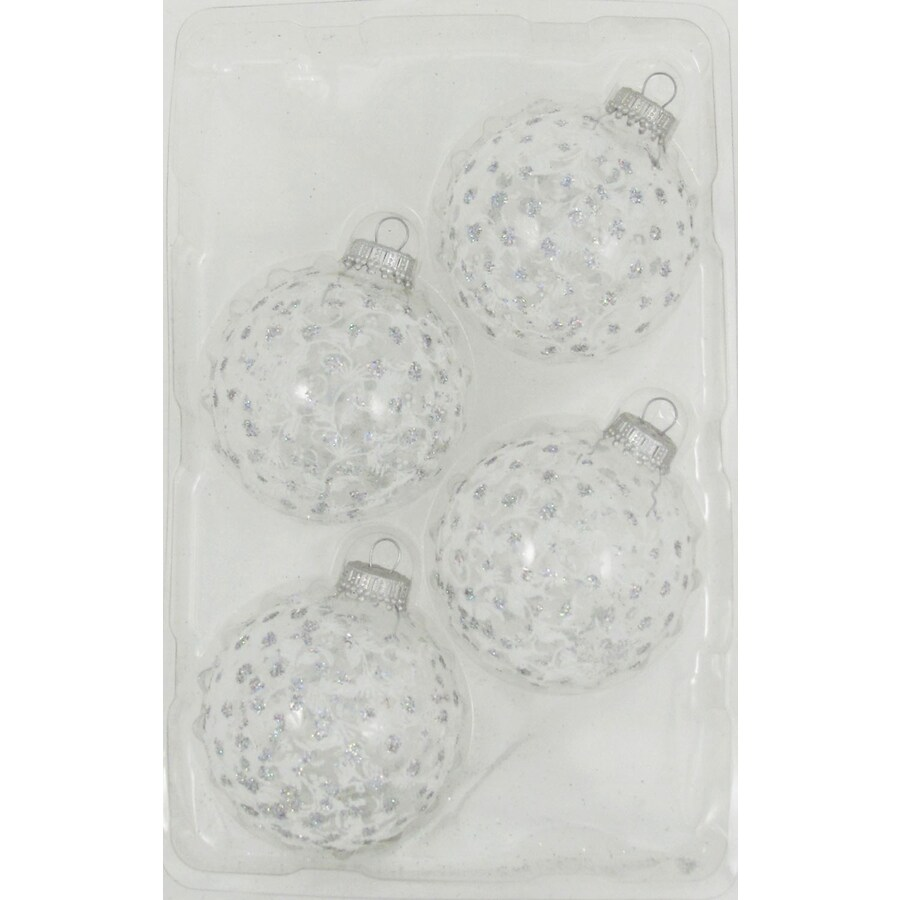 Holiday Living 4-Pack White Sparkle Starburst Ornament Set