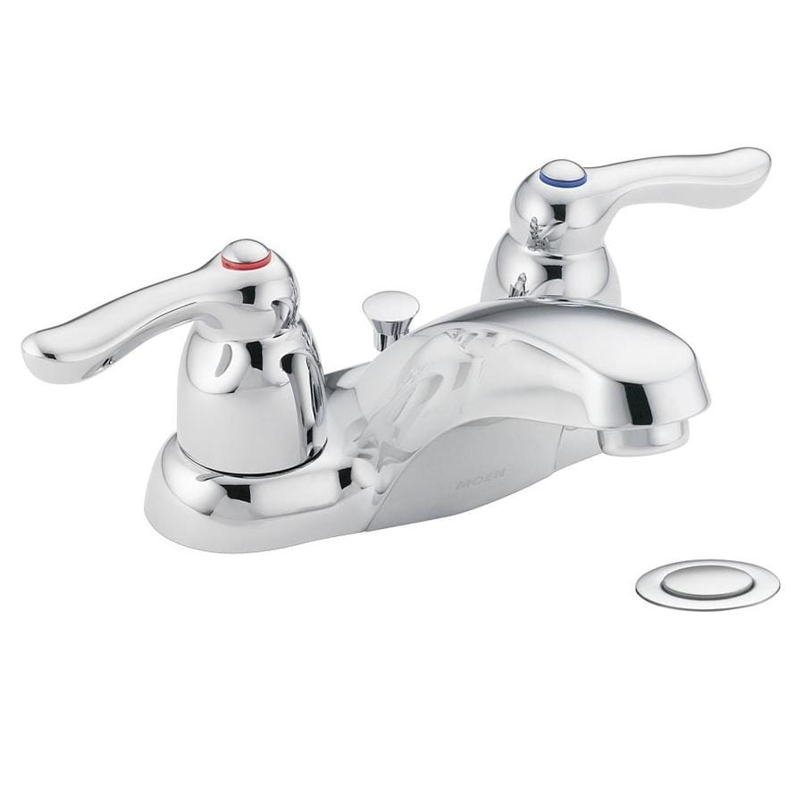 Moen Chateau Chrome 2-Handle 4-in Centerset WaterSense Bathroom Faucet (Drain Included)