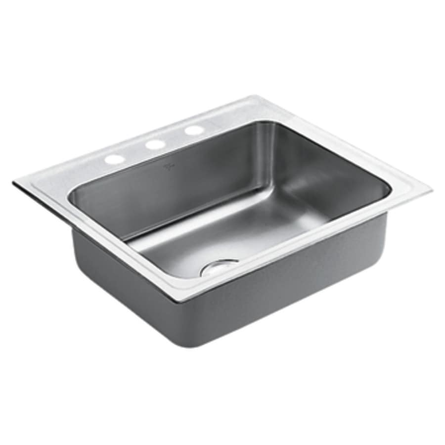 shop moen 22 in x 25 in stainless steel single basin drop in 3 hole commercial kitchen sink at. Black Bedroom Furniture Sets. Home Design Ideas