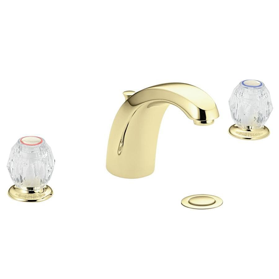 Shop Moen Chateau Polished Brass 2 Handle Widespread Watersense Bathroom Faucet Drain Included