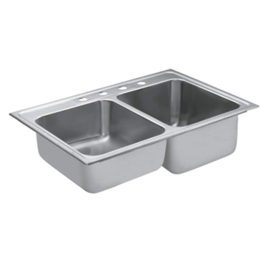Moen 22-in x 33-in Stainless Steel Double-Basin Drop-in 4-Hole Commercial Kitchen Sink