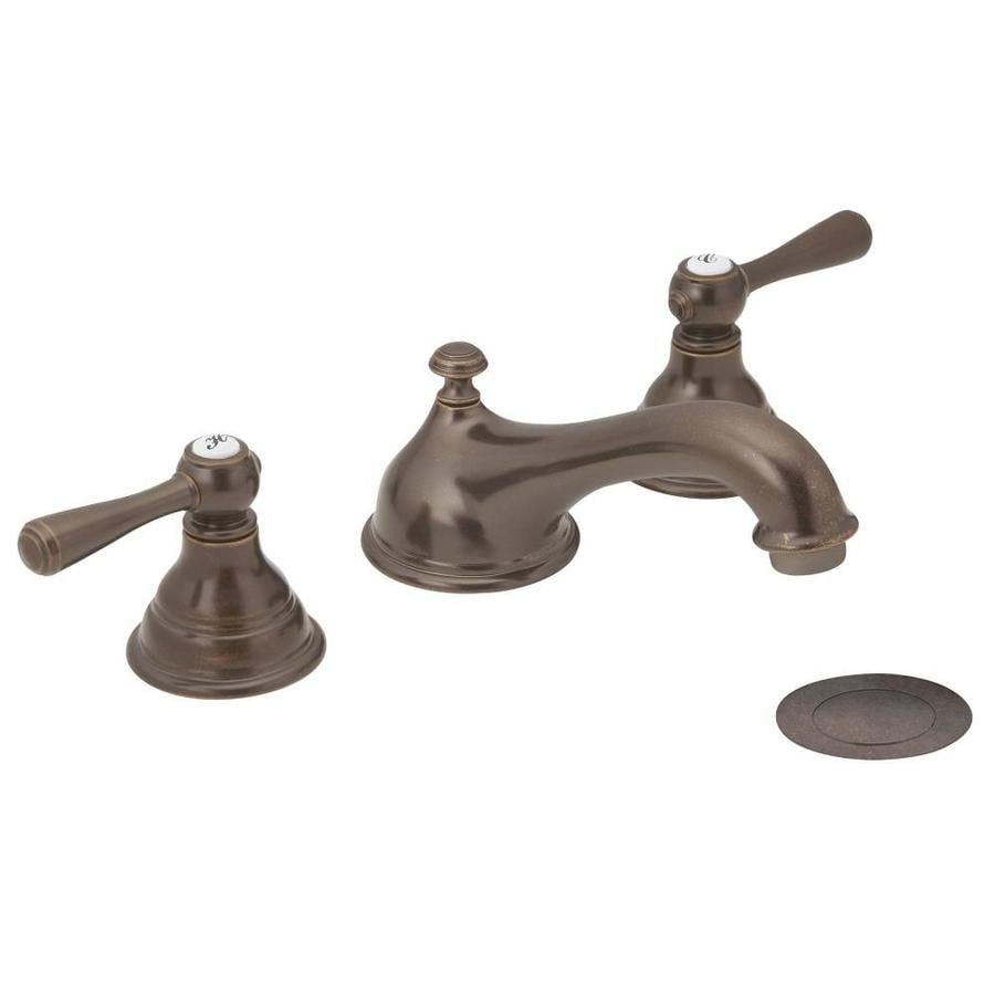 Shop moen kingsley oil rubbed bronze 2 handle widespread for Pictures of bathroom faucets