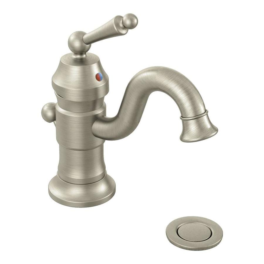 Shop moen waterhill brushed nickel 1 handle single hole - Moen single hole bathroom faucet ...