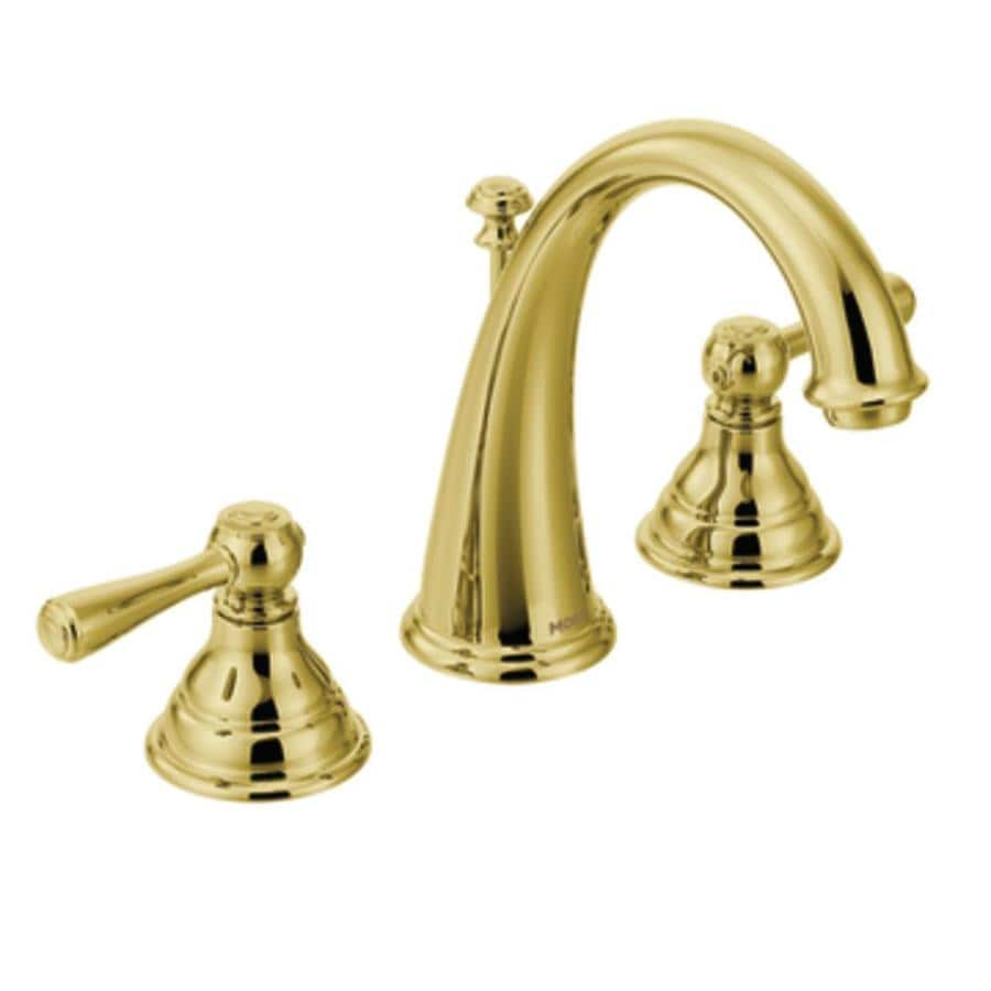 Moen Kingsley Polished Brass 2-Handle Widespread WaterSense Bathroom Faucet (Drain Included)