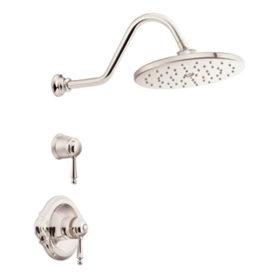 Moen Waterhill Nickel 1-Handle Shower Faucet with Rain Showerhead