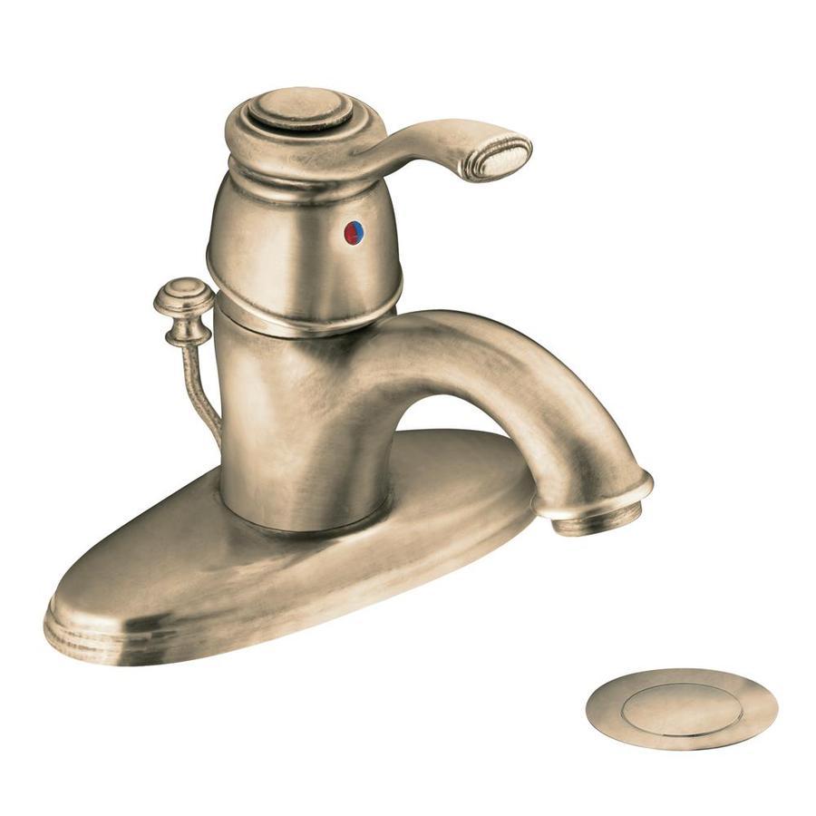 Moen Kingsley Antique Bronze 1-Handle Single Hole/4-in Centerset WaterSense Bathroom Faucet (Drain Included)