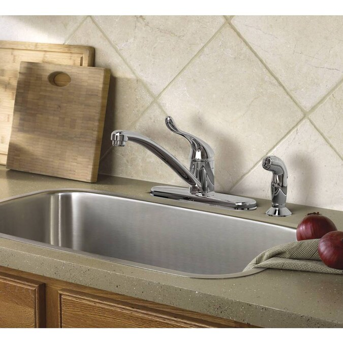 MOEN Adler Single-Handle Low Arc Standard Kitchen Faucet w// Side Sprayer Chrome