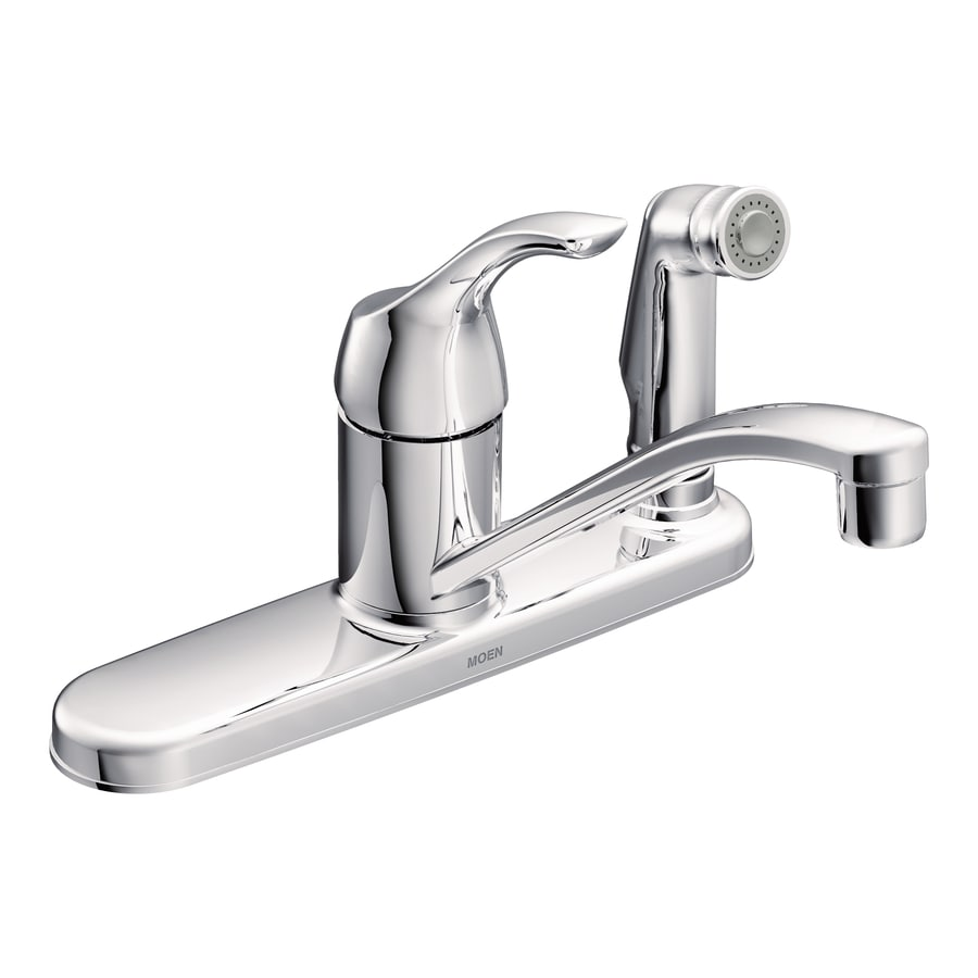 shop moen adler chrome 1 handle low arc kitchen faucet