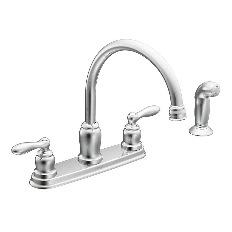 Moen Caldwell Chrome 2-Handle High-Arc Kitchen Faucet with Side Spray