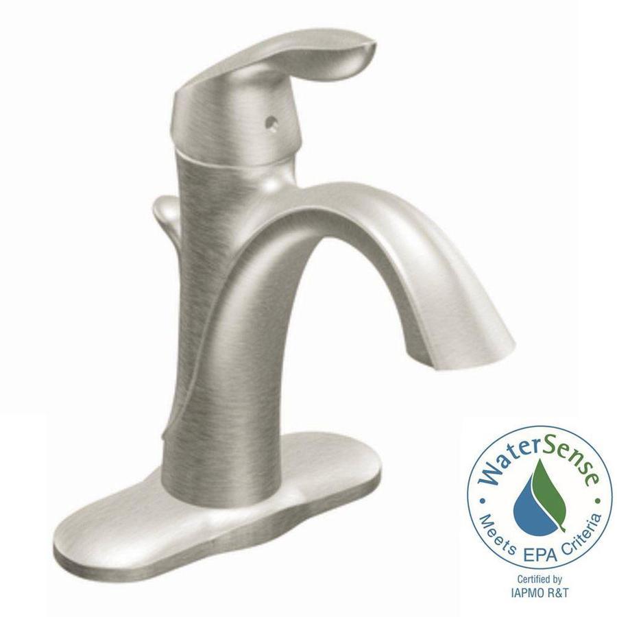 Moen Eva Brushed Nickel 1-Handle Single Hole/4-in Centerset WaterSense Bathroom Faucet (Drain Included)