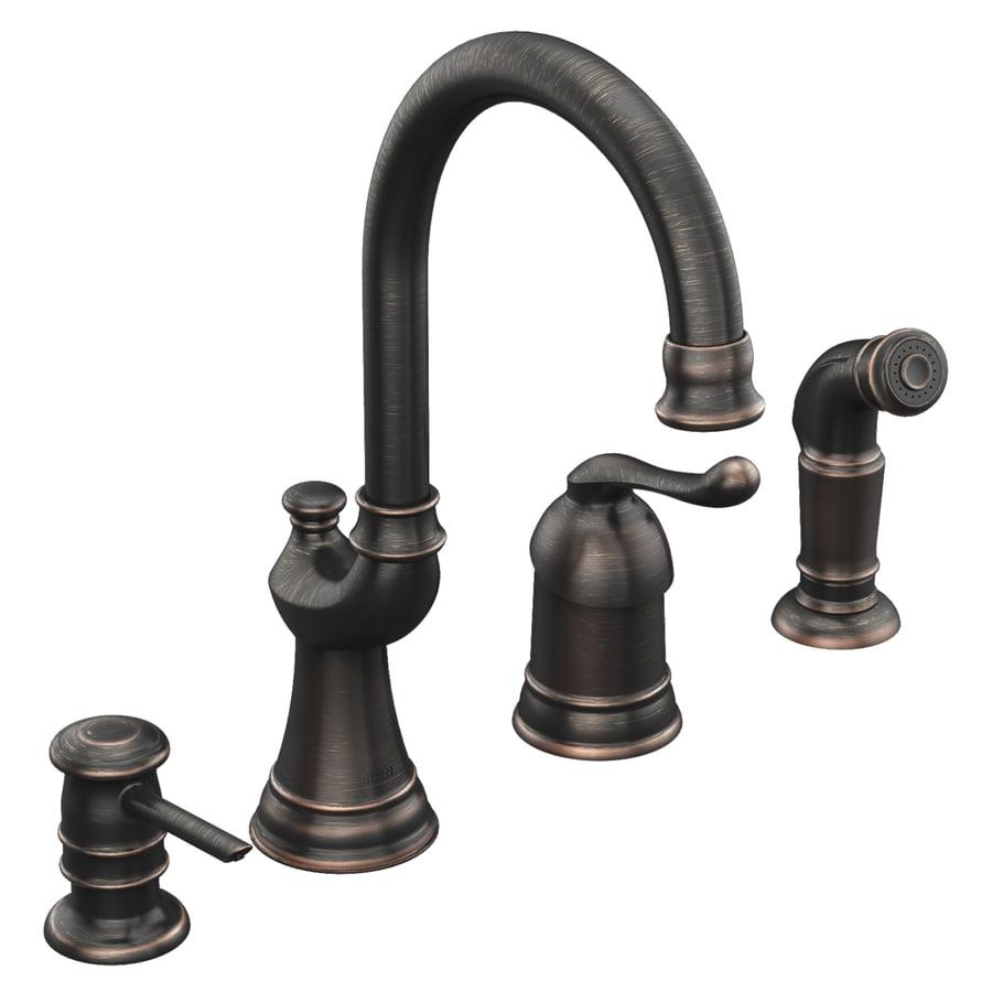Moen Muirfield Mediterranean Bronze 1-Handle High-Arc Kitchen Faucet with Side Spray