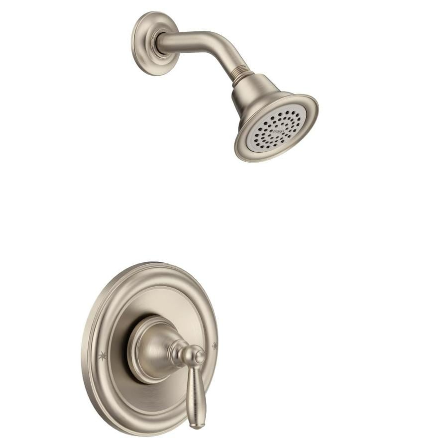 Shop Moen Brantford Brushed Nickel 1 Handle Watersense Shower Faucet Trim Kit With Single