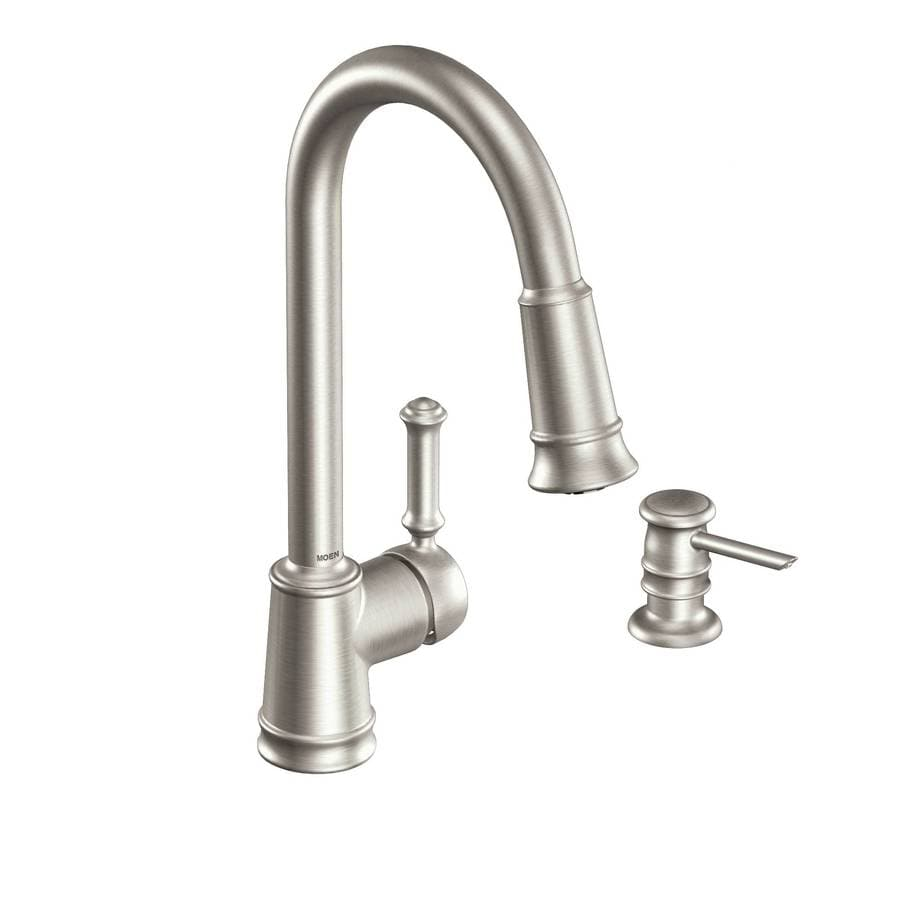 Shop Moen Lindley Spot Resist Stainless 1 Handle Pull Down Kitchen Faucet At