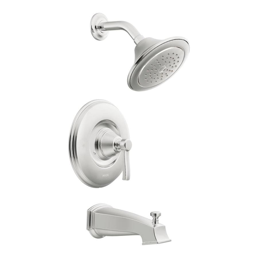 Moen Rothbury Chrome 1-Handle Bathtub and Shower Faucet Trim Kit with Single Function Showerhead