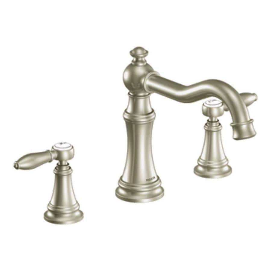 Moen Weymouth Brushed Nickel 2-Handle Adjustable Deck Mount Tub Faucet