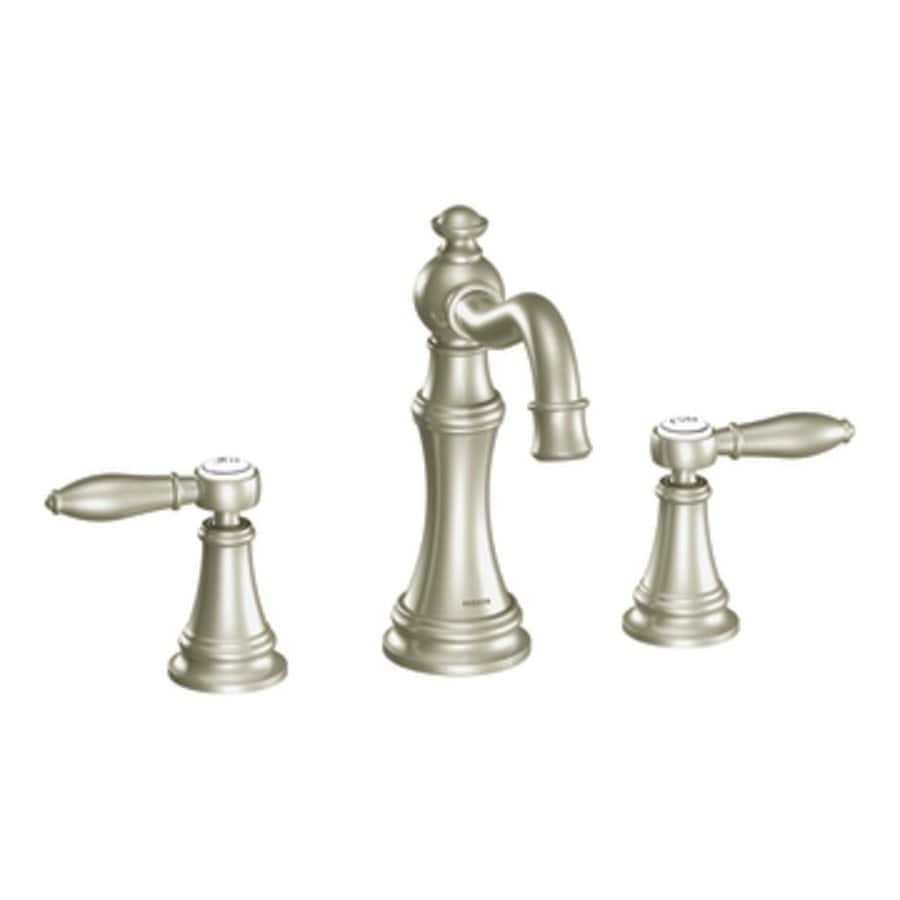 Shop Moen Weymouth Brushed Nickel 2 Handle Widespread Watersense Bathroom Faucet At